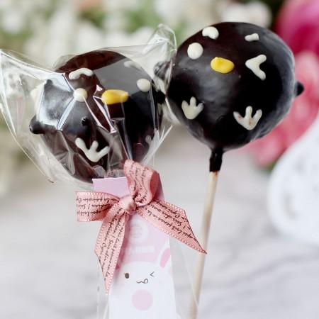 【阿丸甜甜圈】企鵝丸子動物造型棒棒糖-黑巧克力口味 10支入婚禮小物,二次進場,情人禮,送客禮