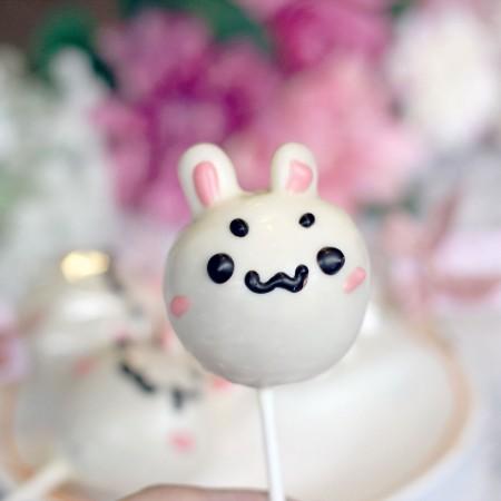 【阿丸甜甜圈】啵兔丸子兔子造型棒棒糖-白巧克力口味 10支入婚禮小物,二次進場,情人禮,送客禮